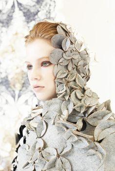 Modular Clothing fabric manipulation for fashion; textured textile surfaces // Headpiece by Eunsuk Hur