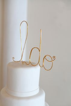 "Gold script cake toppers ""I do"""
