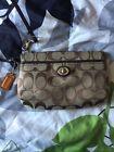 Authentic Coach Wristlet purse wallet clutch bag brown/tan w/ keychain