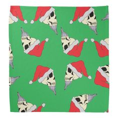 Christmas Doggy Bandana Skulls In Santa Hats Green
