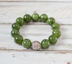Jade Nephrite Bracelet & Sterling Silver Bracelet by amariesshop
