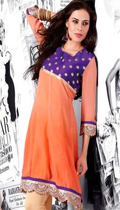 Peach Velvet and Viscose Georgette #Kurti  Product code: KKR-21211 Price: INR 390(Readymade size), Color: Peach Shop Online now: http://www.efello.co/Kurti_Peach-Velvet-and-Viscose-Georgette-Kurti_15236
