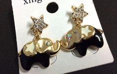 Black Elephant with Crystal Star Shaped Stud Earring #Handmade #Stud