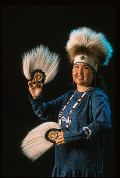 traditional yupik headdress and dance fans with Kuspuk- my heritage :)