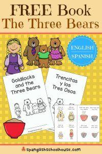Goldilocks and the Three Bears free printable mini-book in English or Spanish ~ Trencitas y los Tres Osos.