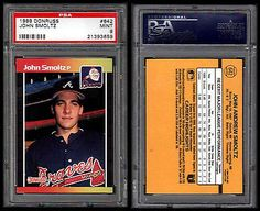 JOHN SMOLTZ RC PSA 9 MINT-1989 DONRUSS # 642-HALL OF FAME ATLANTA BRAVES PITCHER