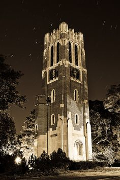 Michigan State University - Beaumont Tower at Night. After two years of grad school at MSU, my loyalty forever went to Michigan State. Attending the MLIR program was the best decision I've ever made and opened many doors for me. Michigan State University, Michigan State Spartans, East Lansing, Lansing Michigan, But Football, College Football, Msu Spartans, College Campus, Great Lakes