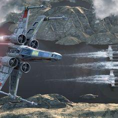 X-Wing Along the River by Kurt Miller on ArtStation.