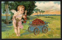 CHERUB with Wagon Full of Hearts Postcard 1905 - Valentine - German American Co.