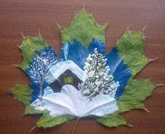 «Зимние рисунки на кленовых листьях». Мое творчество Фото