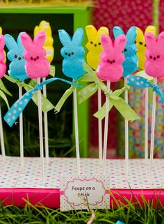 Peeps on a stick.  Easy cute...halloween christmas and valentines too The High Heeled Hostess: easter