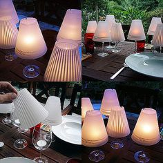 diy wine-glass-candle-lamps - with wine glasses! Use tea lights or battery lights. Candle Lamp, Glass Candle, Wine Glass, Glass Lamps, Glass Lanterns, Glass Lights, Votive Candles, Candels, Glass Chandelier