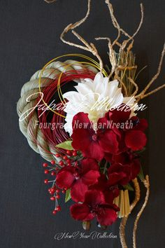 Chinese New Year Decorations, New Years Decorations, Flower Decorations, Ikebana Flower Arrangement, Floral Arrangements, Art Floral, Wreaths And Garlands, Holiday Wreaths, Oriental Flowers