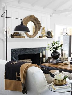 Black and white living room from Elements of Style Blog   Plain Simple   http://www.elementsofstyleblog.com