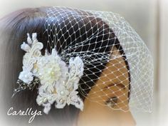 Bridal Lace Head Piece With Birdcage Viel - Lace Bridal Hair Netting Hair Fascinator - Wedding Hair Accessories. $53.00, via Etsy.