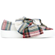 Joshua Sanders 'Tartan Bow' sneakers ($450) ❤ liked on Polyvore featuring shoes, sneakers, white, tartan shoes, white trainers, leather trainers, white leather trainers and white leather shoes
