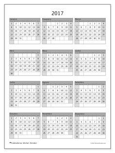 2017para imprimir, livre. Calendário anual : Valerius. A semana começa no domingo