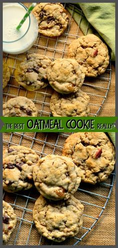 Oatmeal Cookies that are chewy and soft and filled with raisins and nuts and maybe even chocolate chips; are my favorite kind of oatmeal cookie. These cookies made with a touch of wheat germ and lots of oatmeal, with raisins that are softened before adding to the batter, are truly the best oatmeal cookie I've tasted. #cookie #oatmealcookies #baking