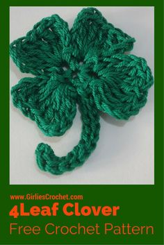 Free Crochet Pattern: Crochet 4 Leaf Clover with photo tutorial in each step.