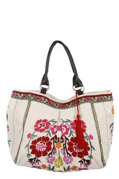 Bolso grande con bordado floral