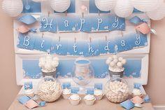 deep blue ocean sea full of dreams first birthday party dessert table