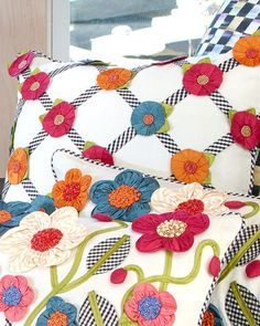 Shop Tic-Tac-Posie Square Pillow from MacKenzie-Childs at Horchow, where you'll find new lower shipping on hundreds of home furnishings and gifts. Cute Pillows, Floral Pillows, Bed Pillows, Mackenzie Childs Furniture, Mackenzie Childs Inspired, Mckenzie And Childs, Couch Cushion Covers, Pillow Crafts, Pillow Sale