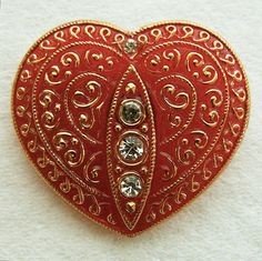 RESERVED    Heres a matching PAiR of 2 huge Czech glass sewing buttons... lovely translucent red shaped hearts with four sparkly rhinestones and a