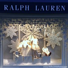 Ralph Lauren Home kids. Visual merchandising. Retail store display window. Winter. Christmas. Holiday. White.