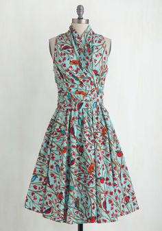 Front Perch Swing A-Line Dress. With your neck wrapped in the glamorous retro gathering of this sweet sky-blue dress, and your waist tie twisted into a perfect bow next to its side zip, you step out your front door feeling lighter than air. #multi #modcloth