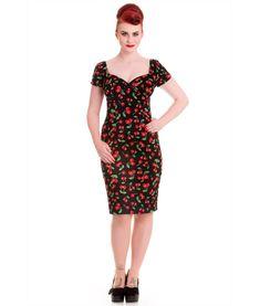 d1d1010cd900 Details about Hell Bunny Black Cherry 1950s Wiggle Pencil Rockabilly Dress  - 8 -16 BNWT