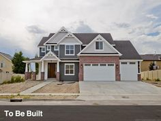 I LOVE these house colors; red brick, gray and cream hardie siding with white trim.  ♥