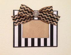 Black/white stripe hand painted/embellished wood frame with black chevron burlap bow on Etsy
