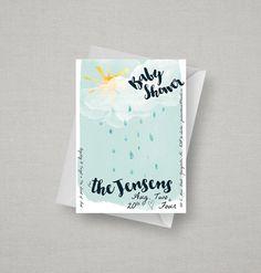 Rain Shower Baby Shower Invitation  Printable Baby by kandsdotco