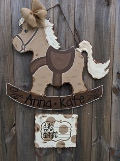 Hospital door hanger, Rocking Horse door hanger, Hand painted nursery decor with birth announcement
