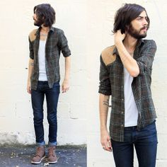 H&M Green Shirt, The Kooples Blue Denim, H&M Brown Shoes