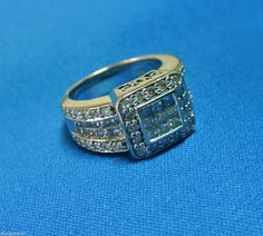 3cttw Diamond Engagement, Cluster, Cocktail Ring 14k White Gold, Heavy