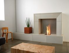 Contemporary Fireplace Design Ideas for Classic Fireplace Theme: Simple Grey Fireplace Plant Pot Wooden Ornamented Table Contemporary Fireplace Design Ideas Fireplace Mantel Kits, Fireplace Shelves, Fireplace Surrounds, Grey Fireplace, Mantel Shelf, Hanging Fireplace, Custom Fireplace, Fireplace Screens, Fireplace Inserts