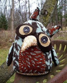 Handmade Plush Owl Stuffed Owl Art Doll  by PooknflipProductions