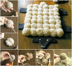 Pom Pom and Crochet Sheepskin Rug!