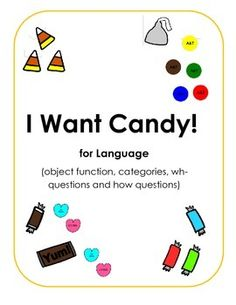 I Want Candy!  This seasonal game (includes cards for Halloween and Valentine's Day) is a fun way to work on wh- and how questions.  Also available for artic.