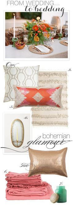 Boho chic bedding inspired by the same fabulous wedding style. Wedding image by Aaron Delesie. http://www.delesieblog.com/