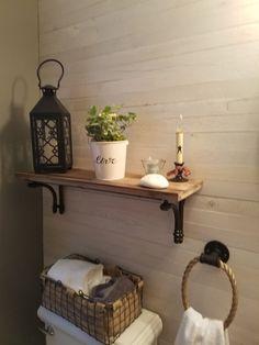 Rustic bathroom with shiplap