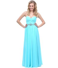 2014 Prom Dresses - Aqua Gathered Center & Gem Sweetheart Strapless Long Dress - Unique Vintage - Prom dresses, retro dresses, retro swimsuits.