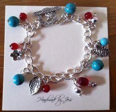Turquoise & Red Charm bracelet