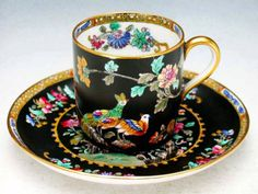 Spode Demitasse  c.1890 Tea Cup & Saucer ♥≻★≺♥Adore the vibrant Design on Black!