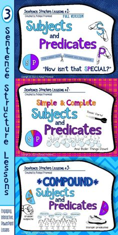 3 sentence structure lessons... engaging, interactive, PowerPoint-based, with accompanying printables.