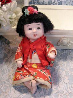 Vintage Ichimatsu Gofun Japanese Baby Doll Silk by havetohaveit