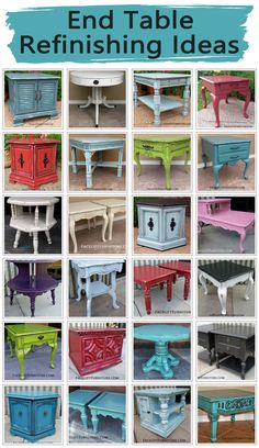 End Table Refinishing Ideas End tables are a great way to introduce the upstyled look up painted, glazed and distressed furniture into your home. Whether your choice of paint color is bold or neutral, end tables provide a unique pop of character to accent Refurbished Furniture, Paint Furniture, Repurposed Furniture, Furniture Projects, Furniture Makeover, Home Furniture, Diy Projects, Furniture Refinishing, Furniture Design
