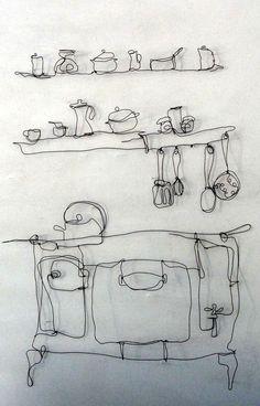 cozinha wire sculpture Simone Grecco