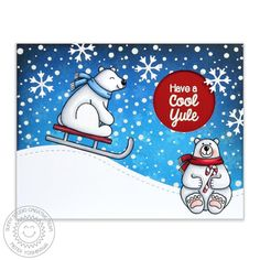 Sunny Studio Stamps Frosty Flurries Polar Bears Sledding in a Snow Storm Christmas Card